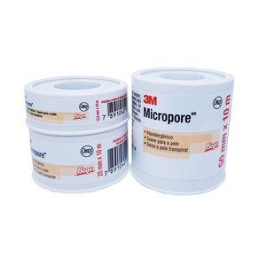 Fita Micropore Cor da Pele - 3M 12,5 MM X 10 METROS