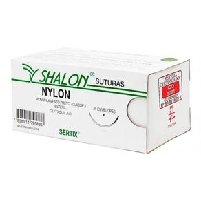 Fio de Sutura Nylon Preto 2-0 (Com Agulha) - Shalon Agulha 3/8 Circular/Triangular 2,0cm (N520CTI20)