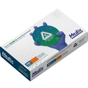 Luva Nitrílica Antimicrobiana AMG - Medix Tamanho: P